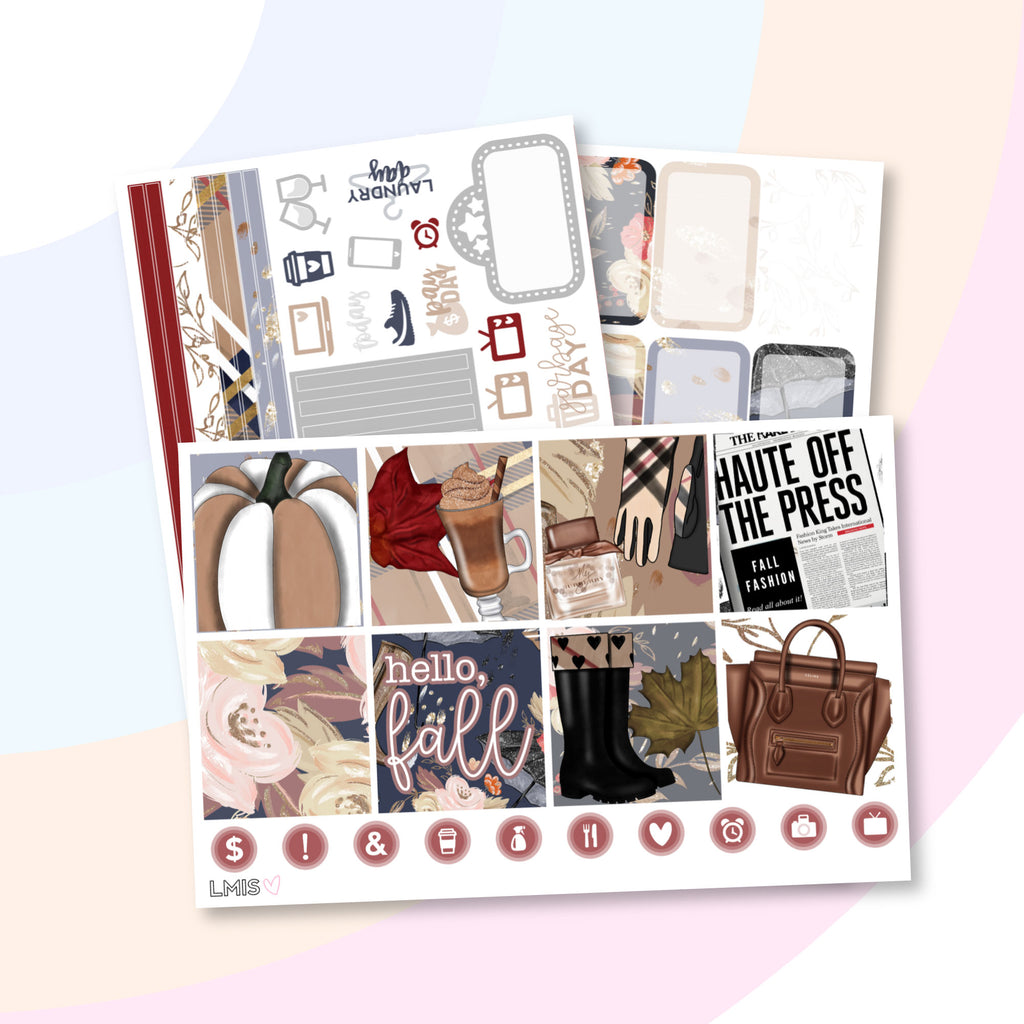 Hello Fall Planner Sticker Kit (Horizontal) - Grab these stickers for your planner and let's get to it! - Let's Make It Sparkle