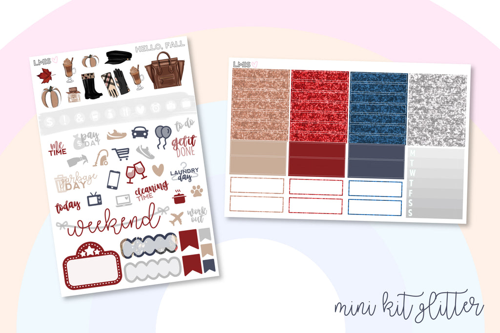 Hello Fall Vertical Planner Sticker Kit - Grab these stickers for your planner and let's get to it! - Let's Make It Sparkle