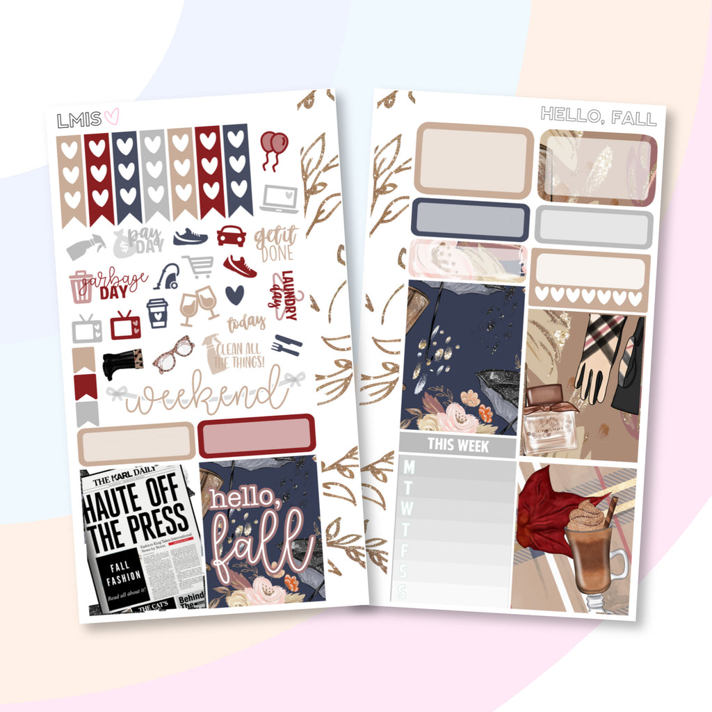 Hello Fall Personal Planner Sticker Kit for Traveler's Notebooks, TNs and Personal Planners - Grab these stickers for your planner and let's get to it! - Let's Make It Sparkle
