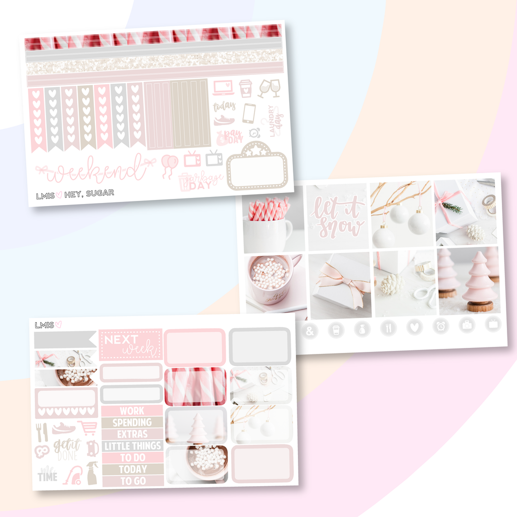 Hey, Sugar Planner Sticker Kit (Horizontal), Winter - Grab these stickers for your planner and let's get to it! - Let's Make It Sparkle
