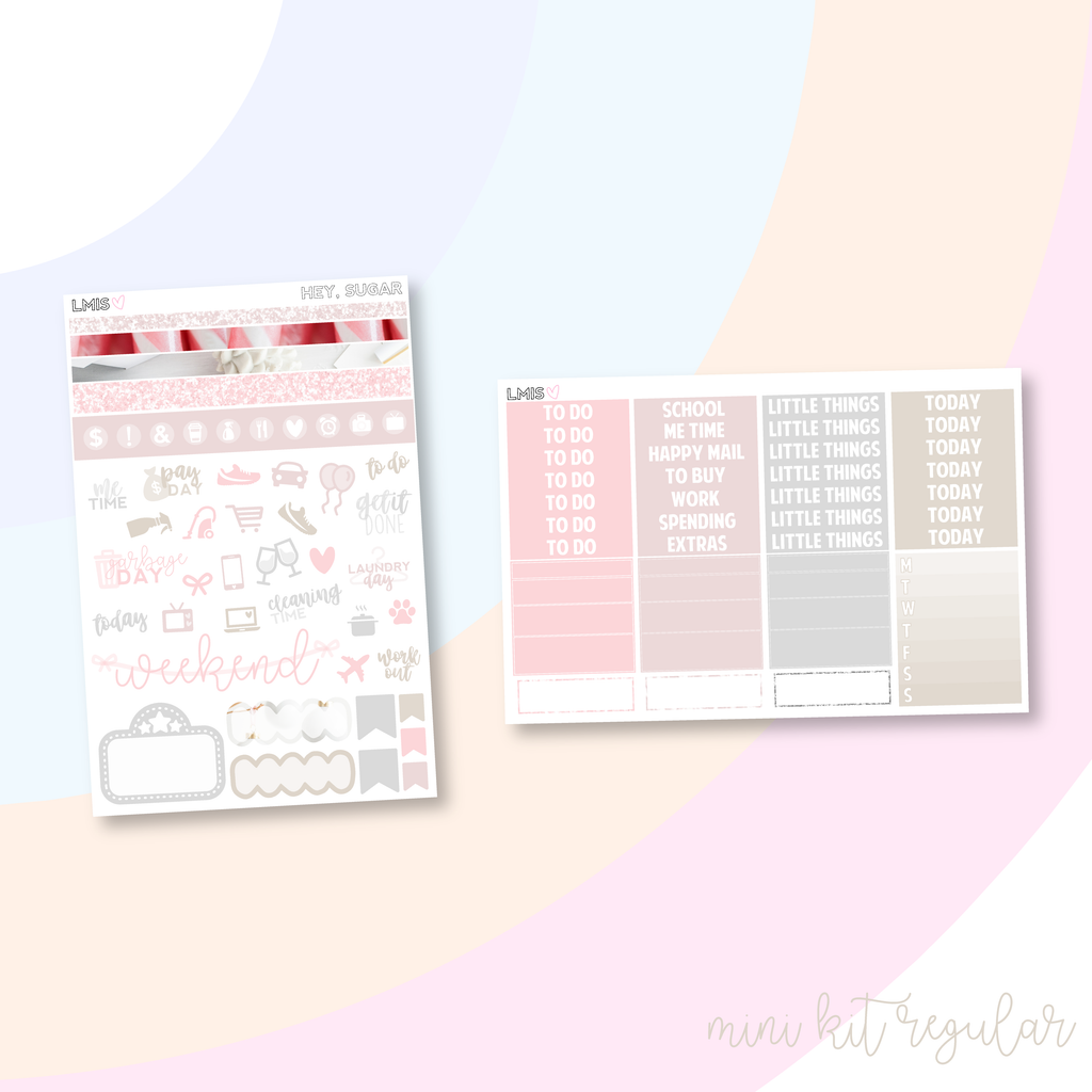 Hey, Sugar Vertical Planner Sticker Kit, Holiday Sticker Kit - Grab these stickers for your planner and let's get to it! - Let's Make It Sparkle