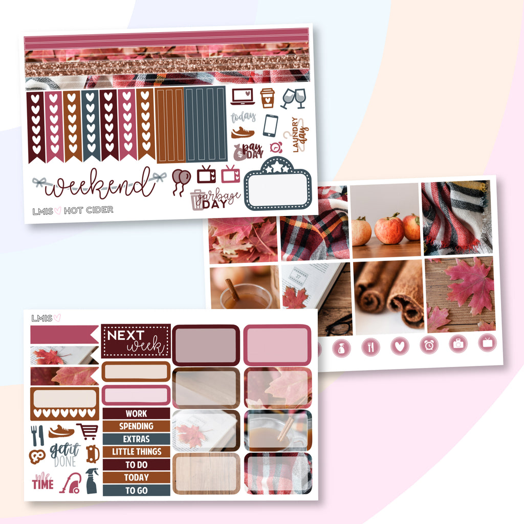 Hot Cider Planner Sticker Kit (Horizontal) - Grab these stickers for your planner and let's get to it! - Let's Make It Sparkle