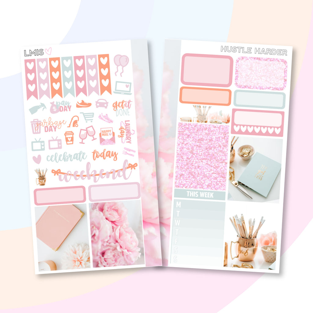 Hustle Harder Personal Planner Sticker Kit - Grab these stickers for your planner and let's get to it! - Let's Make It Sparkle