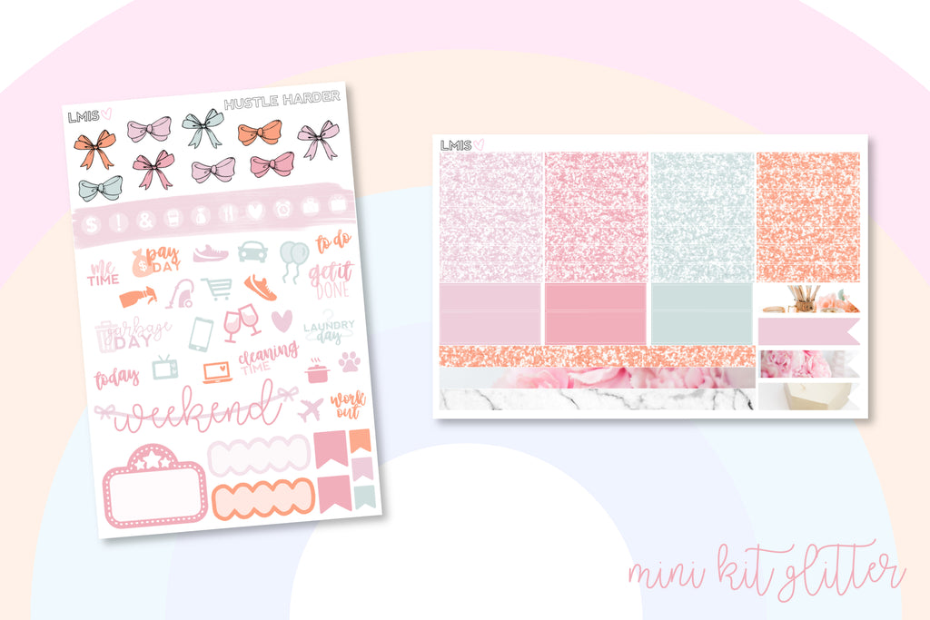 Hustle Harder Planner Sticker Kit (Vertical) - Grab these stickers for your planner and let's get to it! - Let's Make It Sparkle