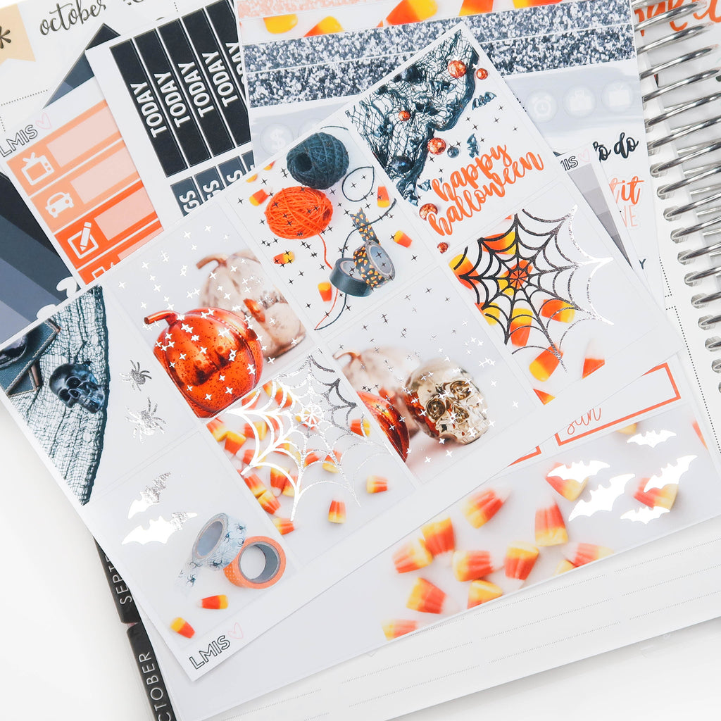 Silver Foiled Spooky Planner Sticker Kit // Halloween Sticker Kit - Grab these stickers for your planner and let's get to it! - Let's Make It Sparkle