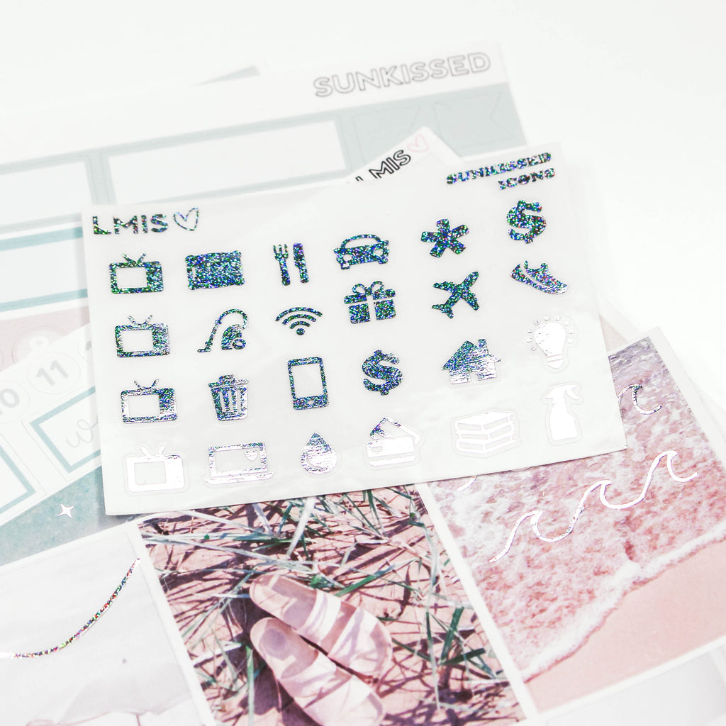 Pixie Holo Foiled Sunkissed Planner Sticker Kit // Summer Sticker Kit