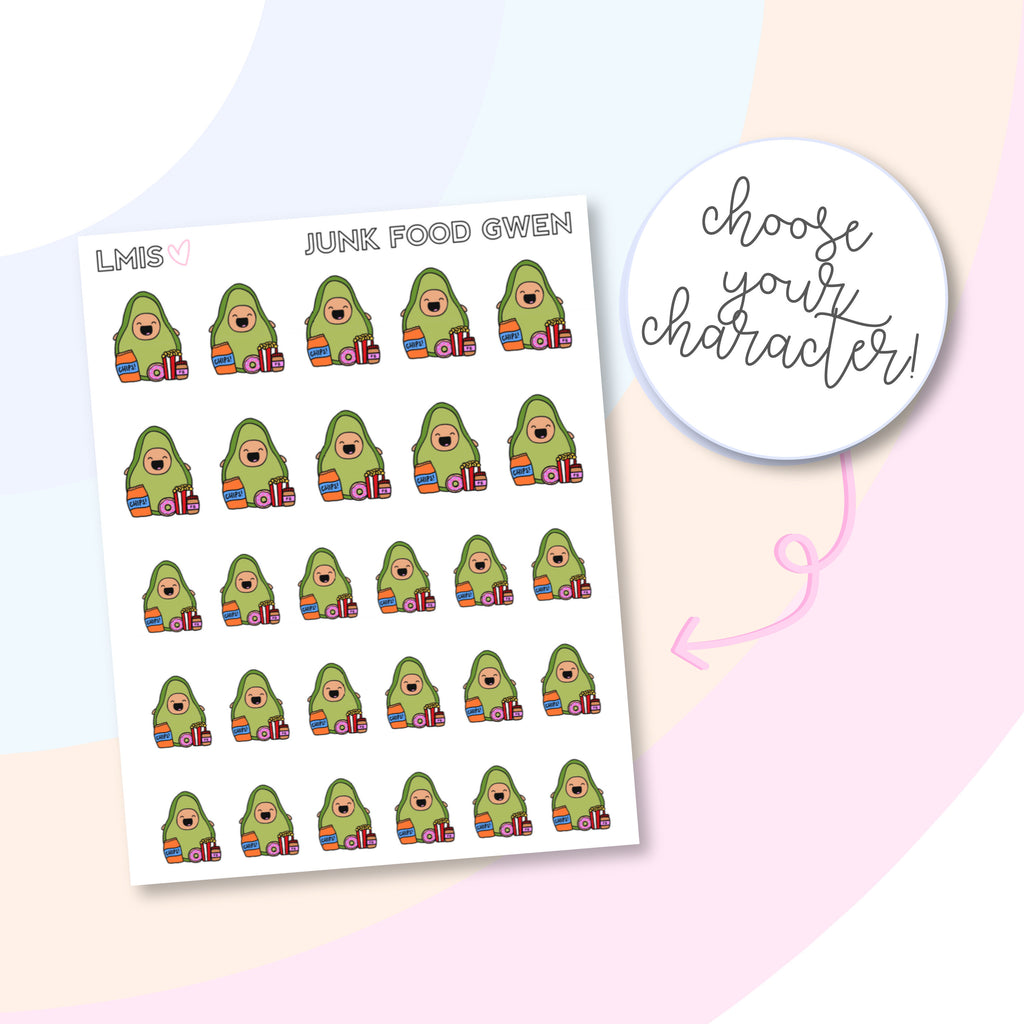 Junk Food/Cheat Day AvoBabes Planner Stickers - Grab these stickers for your planner and let's get to it! - Let's Make It Sparkle