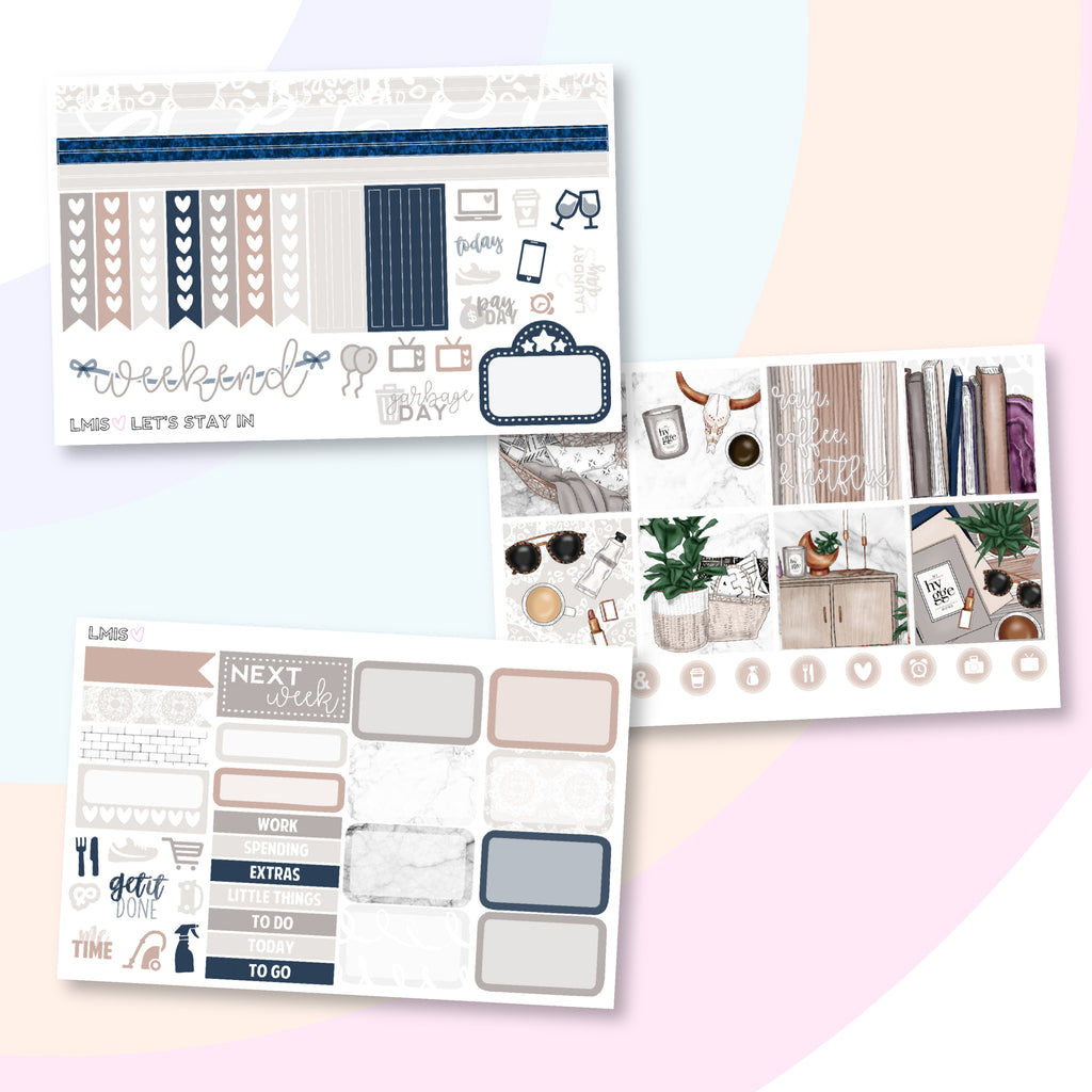 Let's Stay In Planner Sticker Kit (Horizontal) - Grab these stickers for your planner and let's get to it! - Let's Make It Sparkle