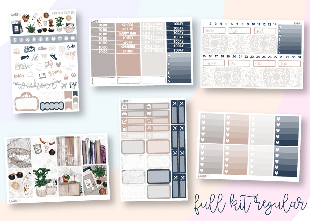 Let's Stay In Vertical Planner Sticker Kit, Cozy, Fall, Autumn - Grab these stickers for your planner and let's get to it! - Let's Make It Sparkle