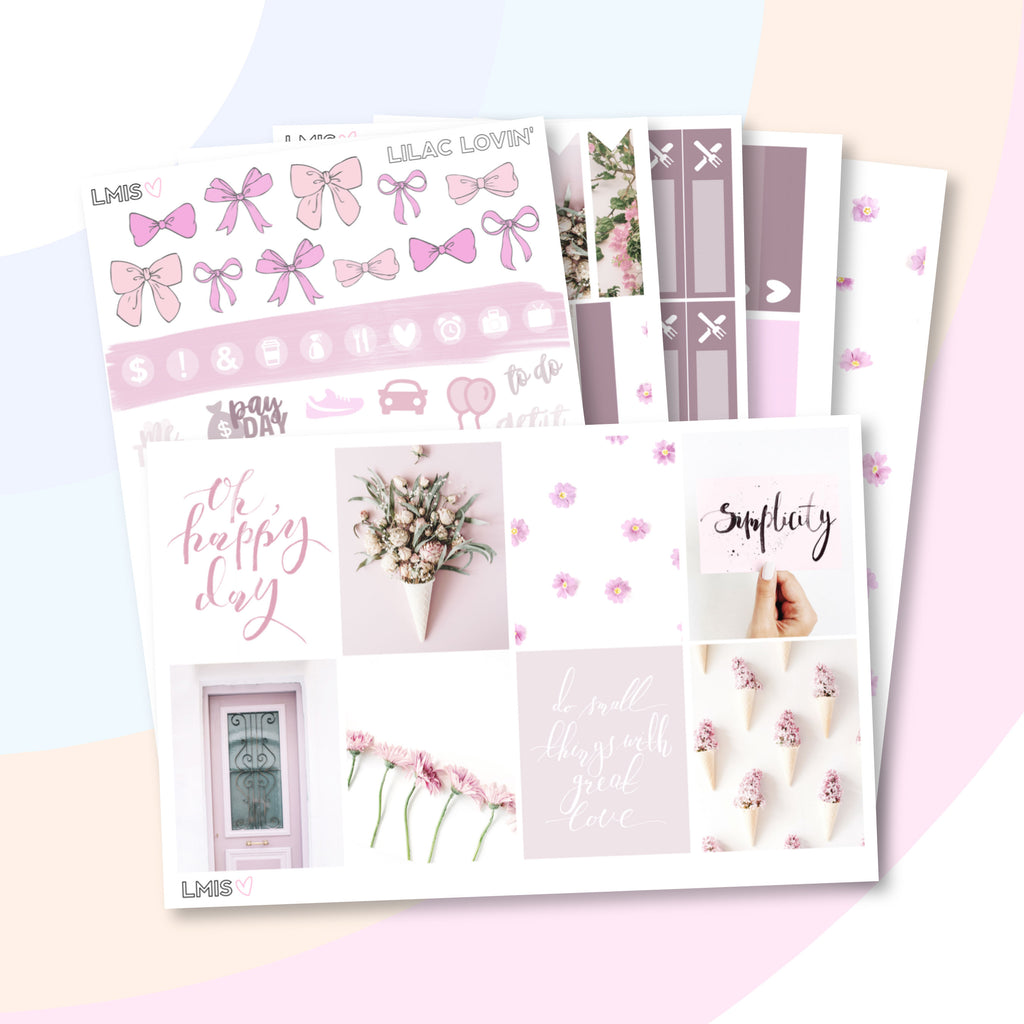 Lilac Lovin' Planner Sticker Kit (Vertical) - Grab these stickers for your planner and let's get to it! - Let's Make It Sparkle
