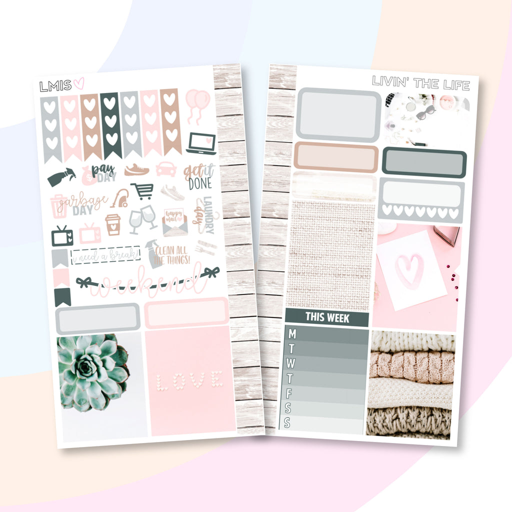 Livin' The Life Personal Planner Sticker Kit - Grab these stickers for your planner and let's get to it! - Let's Make It Sparkle