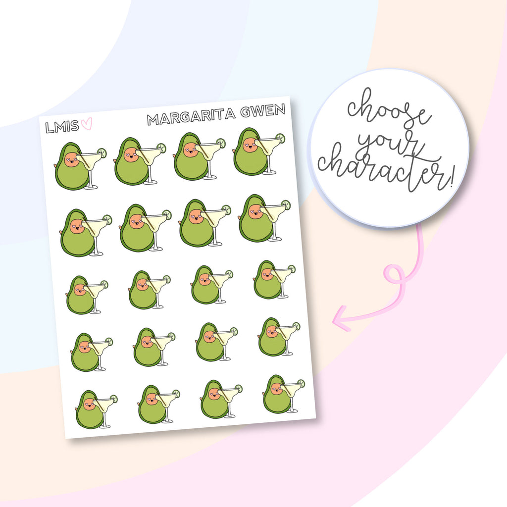 Margarita AvoBabe Planner Stickers, Avocado Planner Stickers - Grab these stickers for your planner and let's get to it! - Let's Make It Sparkle