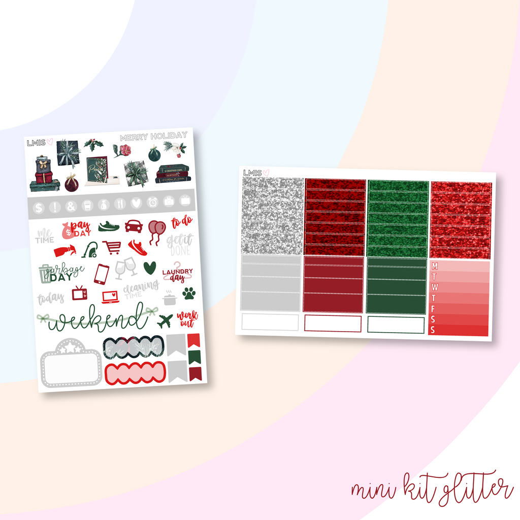 Merry Holiday Vertical Planner Sticker Kit, Christmas Sticker Kit - Grab these stickers for your planner and let's get to it! - Let's Make It Sparkle