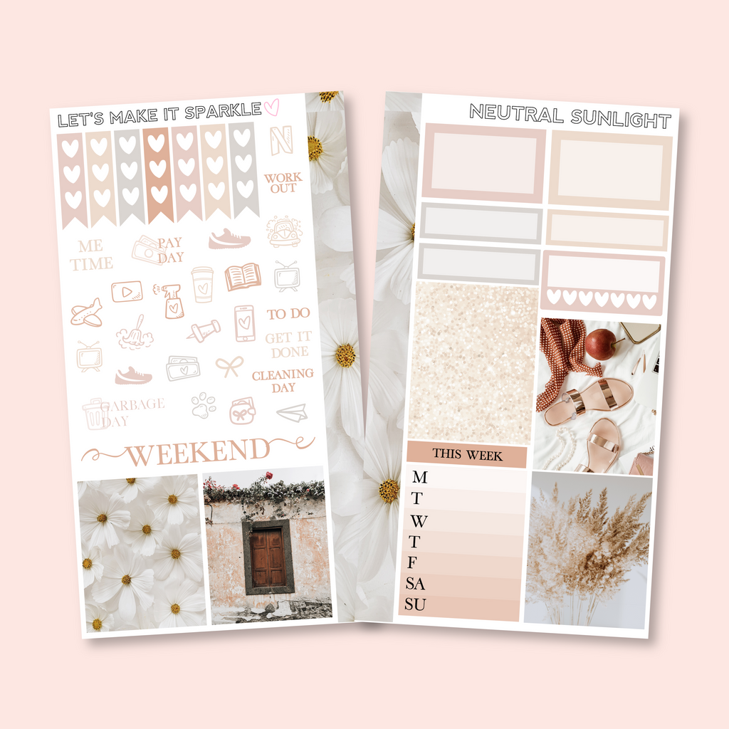 Neutral Sunlight Personal Planner Sticker Kit for Traveler's Notebooks, TNs and Personal Planners