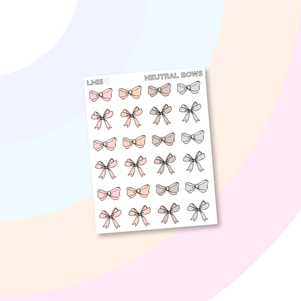Neutral Bow Planner Stickers - Grab these stickers for your planner and let's get to it! - Let's Make It Sparkle