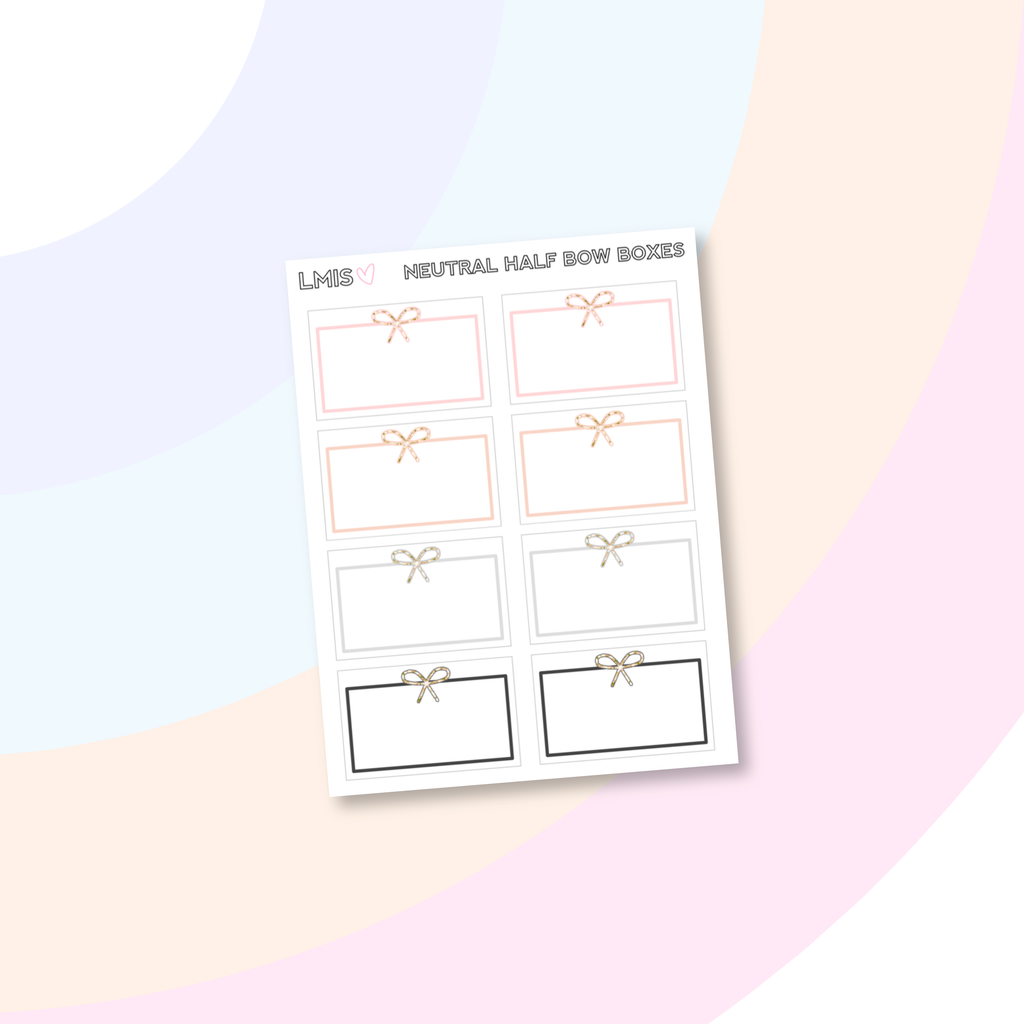 Neutral Bow Half Box Planner Stickers // Two Dollar Tuesday