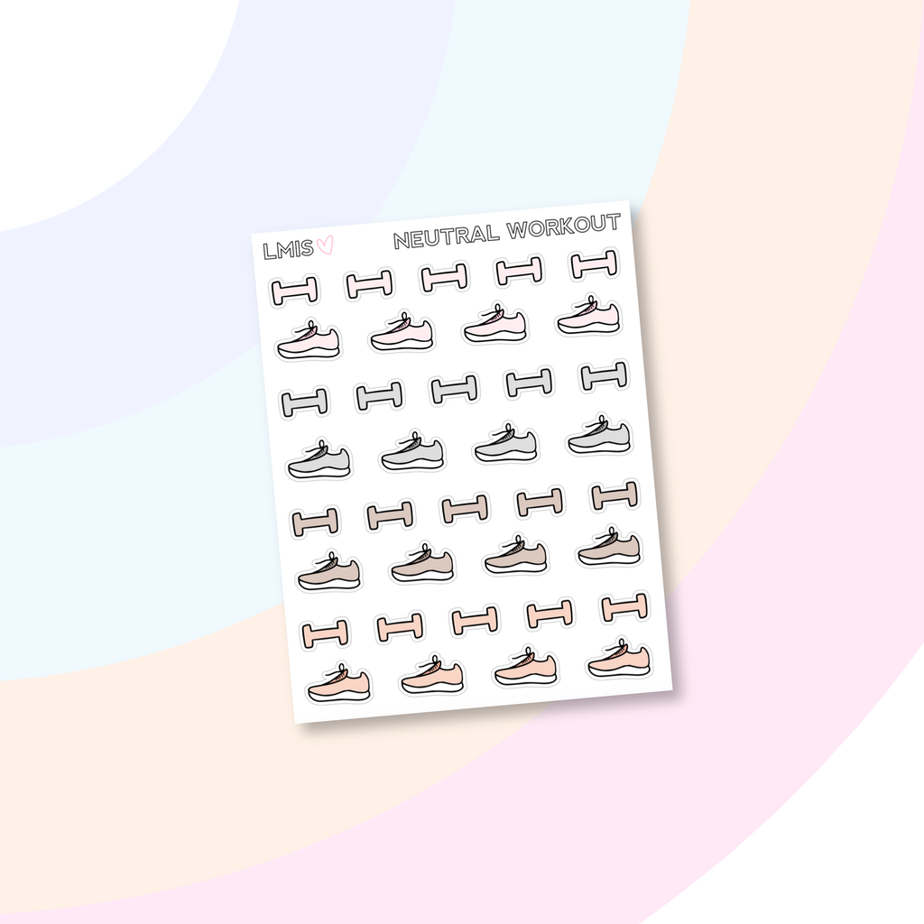 Neutral Workout Stickers, Pastel Workout Stickers