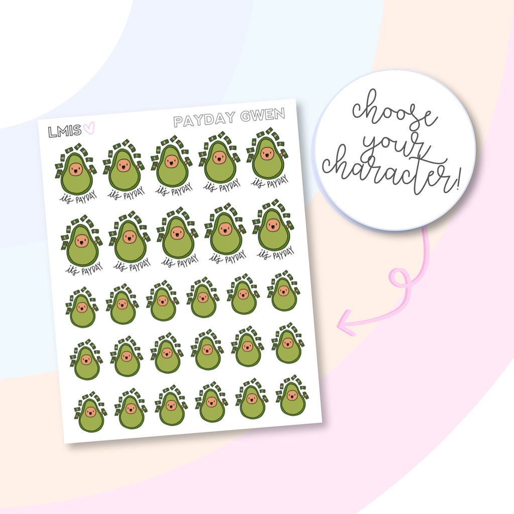 Payday AvoBabes Planner Stickers, Avocado Planner Stickers - Grab these stickers for your planner and let's get to it! - Let's Make It Sparkle