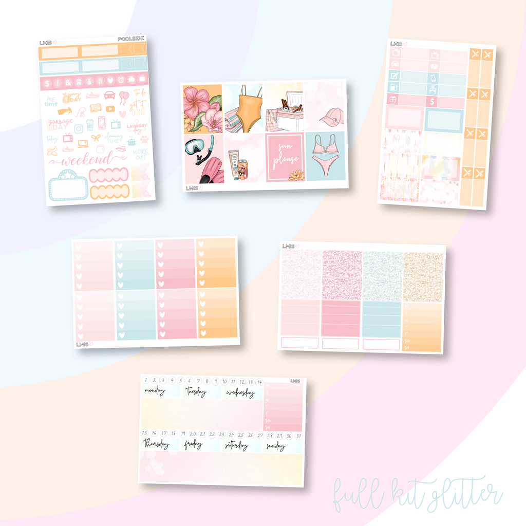 Poolside Vertical Planner Sticker Kit