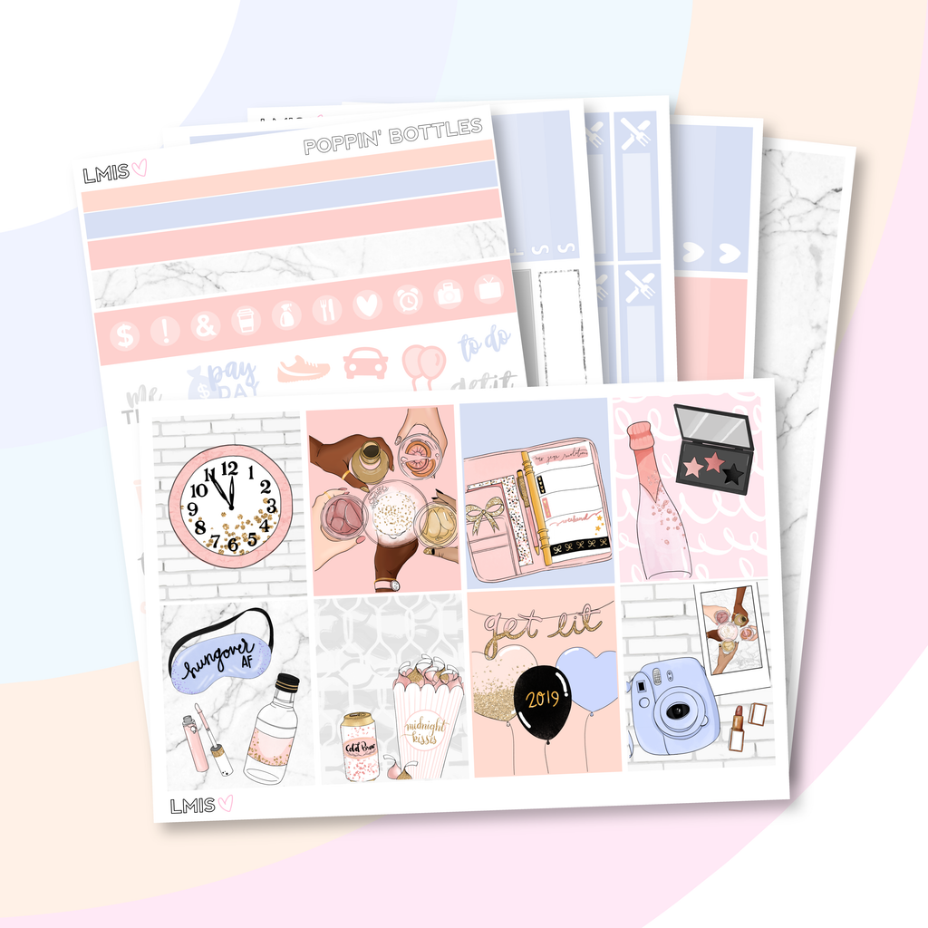 Poppin' Bottles New Year's Eve Planner Sticker Kit (Vertical), 2019 Sticker Kit - Grab these stickers for your planner and let's get to it! - Let's Make It Sparkle