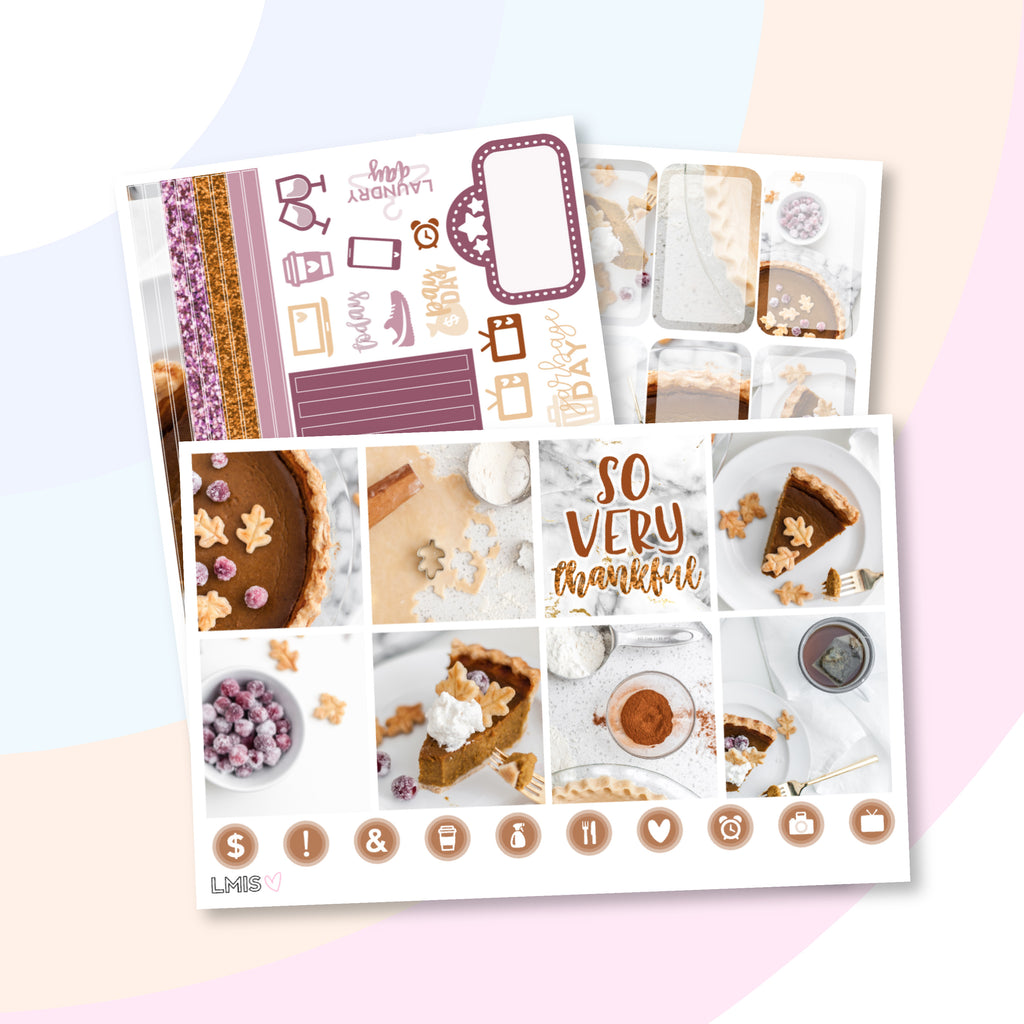 Pumpkin Pie Planner Sticker Kit (Horizontal), Thanksgiving - Grab these stickers for your planner and let's get to it! - Let's Make It Sparkle