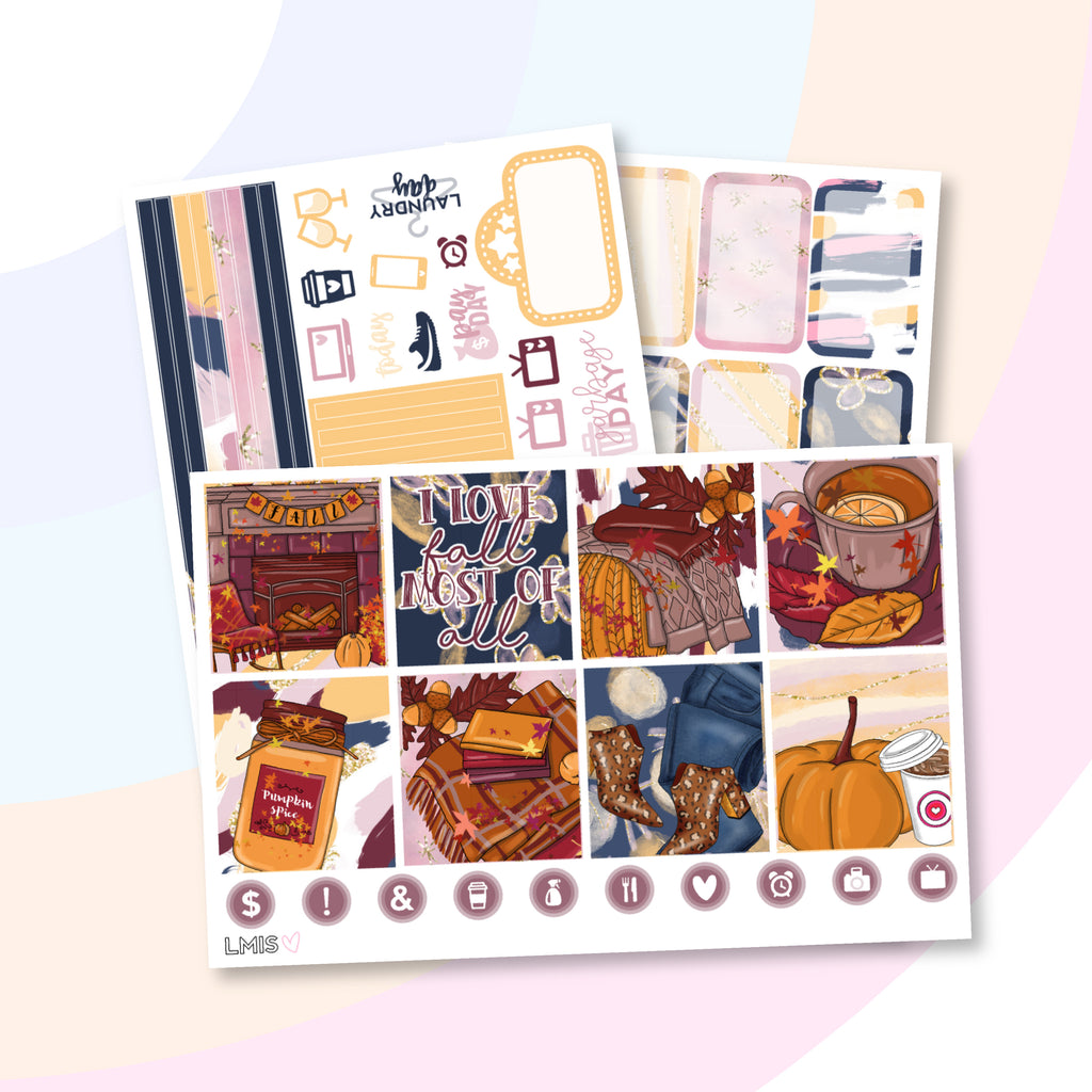 Pumpkin Spice Planner Sticker Kit (Horizontal) - Grab these stickers for your planner and let's get to it! - Let's Make It Sparkle
