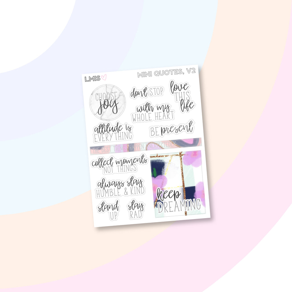 Mini Quote Version Two Planner Stickers - Grab these stickers for your planner and let's get to it! - Let's Make It Sparkle