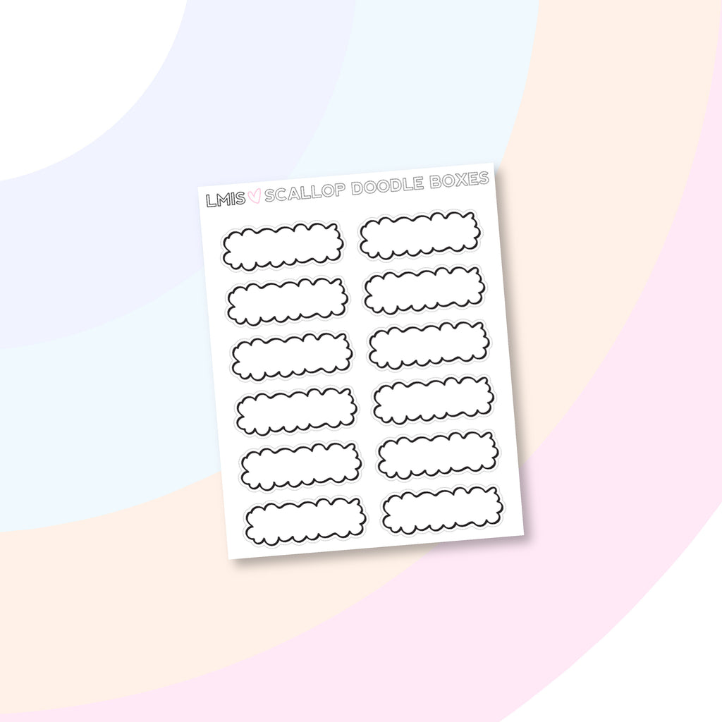 Scalloped Doodle Box Planner Stickers - Grab these stickers for your planner and let's get to it! - Let's Make It Sparkle