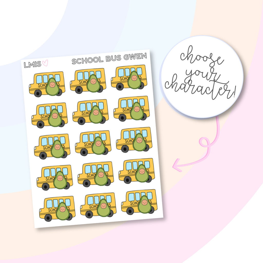 School Bus AvoBabes Planner Stickers - Grab these stickers for your planner and let's get to it! - Let's Make It Sparkle