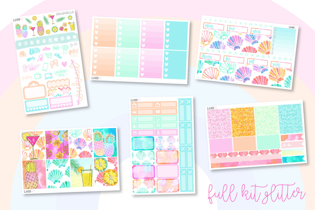 Seashells Vertical Planner Sticker Kit - Grab these stickers for your planner and let's get to it! - Let's Make It Sparkle