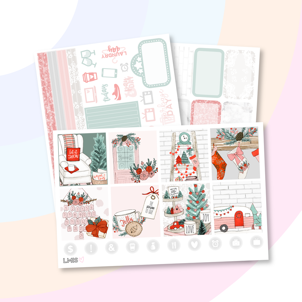Christmas Cheer Planner Sticker Kit (Horizontal), Christmas Stickers - Grab these stickers for your planner and let's get to it! - Let's Make It Sparkle