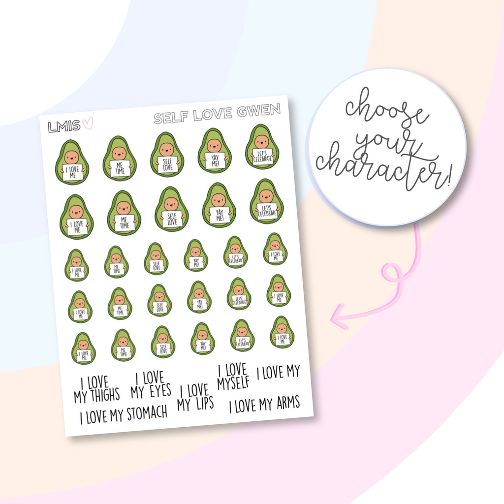 Self-Love AvoBabes Planner Stickers - Grab these stickers for your planner and let's get to it! - Let's Make It Sparkle