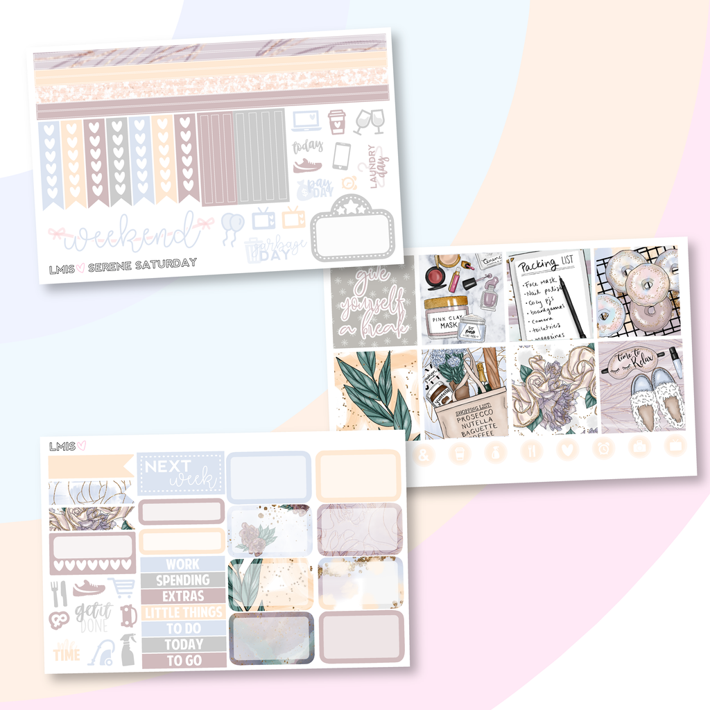 Serene Saturday Planner Sticker Kit (Horizontal), Lazy Day - Grab these stickers for your planner and let's get to it! - Let's Make It Sparkle