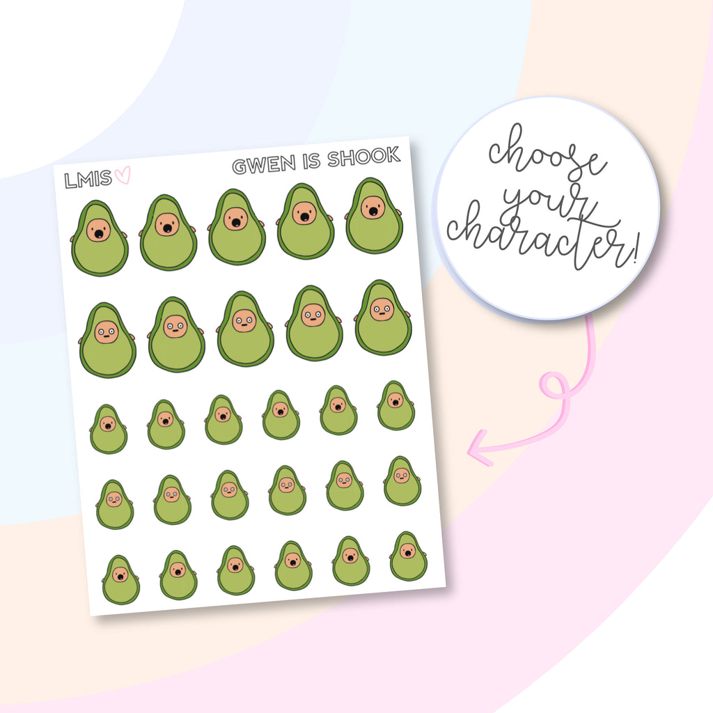Shook/Shocked AvoBabes Planner Stickers - Grab these stickers for your planner and let's get to it! - Let's Make It Sparkle