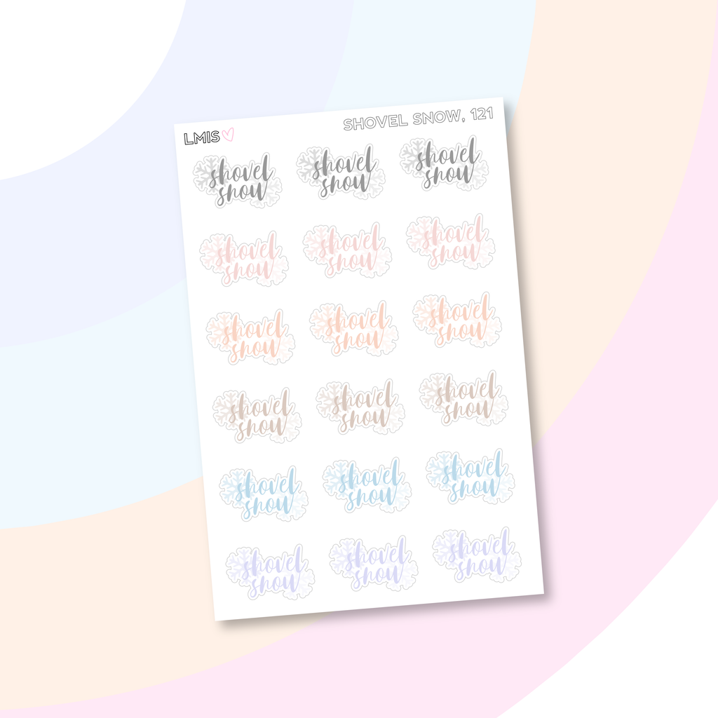 Shovel Snow Planner Stickers, Winter Stickers // 121 - Grab these stickers for your planner and let's get to it! - Let's Make It Sparkle