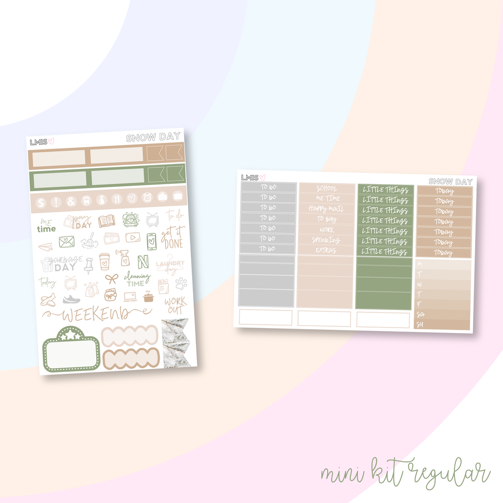 Snow Day Vertical Planner Sticker Kit, Winter Sticker Kit