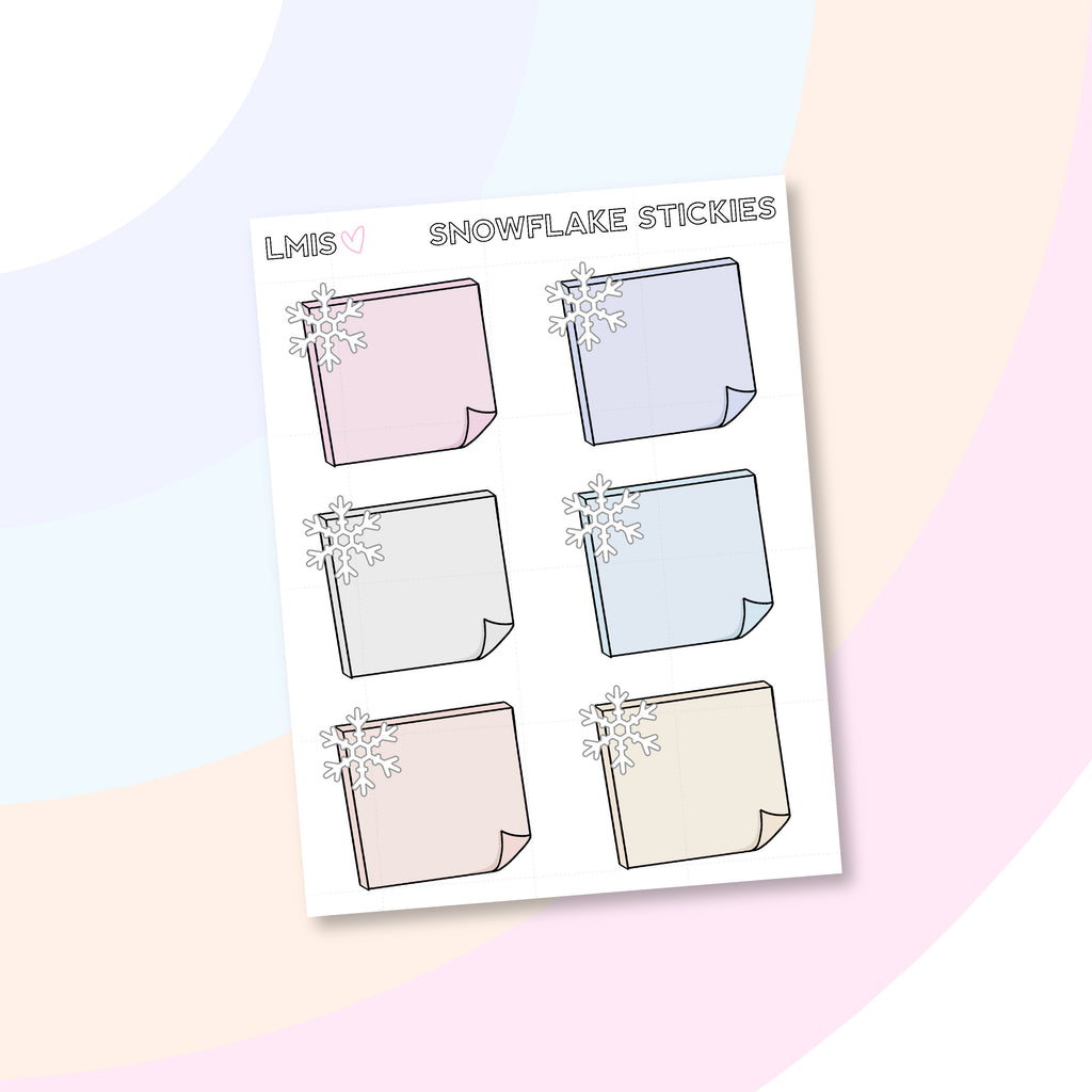 Snowflake Sticky Note Planner Stickers // Winter Stickers