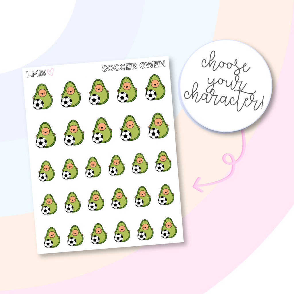 Soccer AvoBabe Planner Stickers, Avocado Planner Stickers - Grab these stickers for your planner and let's get to it! - Let's Make It Sparkle