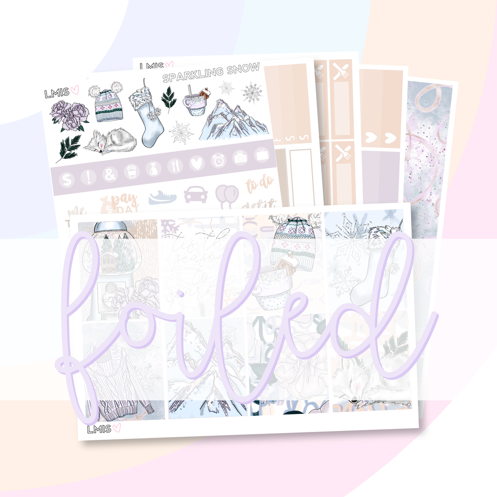 Pixie Holographic Foiled Sparkling Snow Planner Sticker Kit // Holiday Sticker Kit - Grab these stickers for your planner and let's get to it! - Let's Make It Sparkle