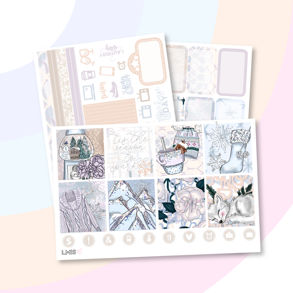 Sparkling Snow Planner Sticker Kit (Horizontal), Winter - Grab these stickers for your planner and let's get to it! - Let's Make It Sparkle