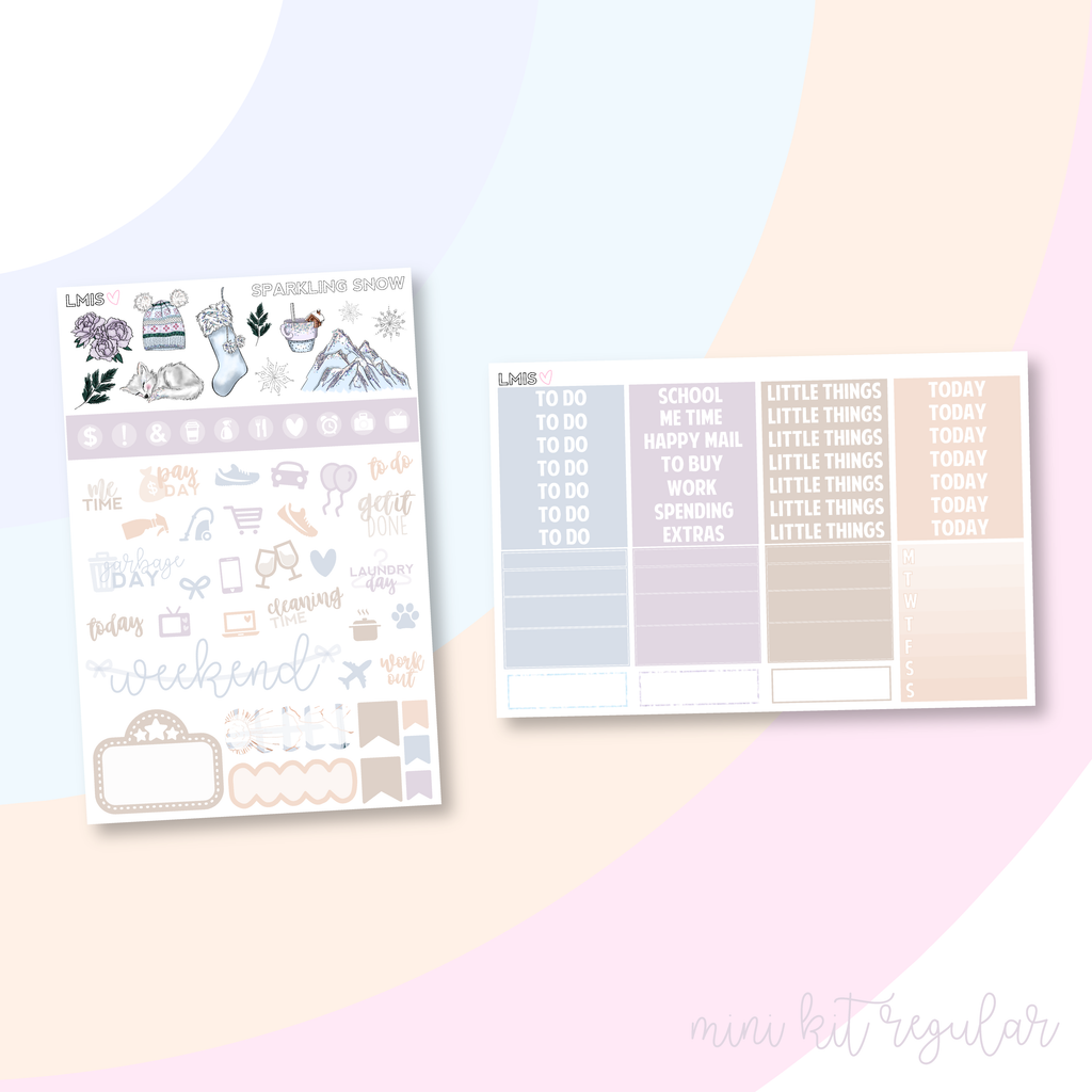 Sparkling Snow Vertical Planner Sticker Kit, Christmas Sticker Kit - Grab these stickers for your planner and let's get to it! - Let's Make It Sparkle