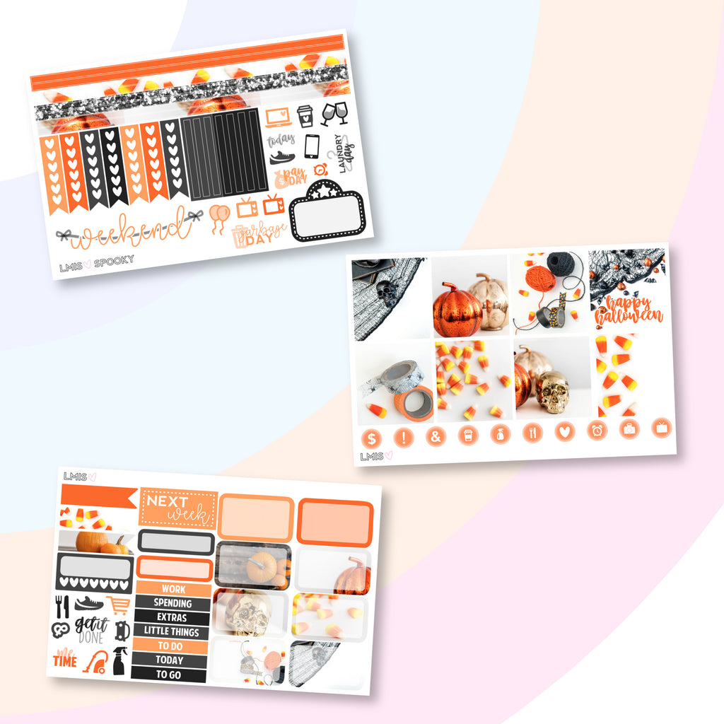 Spooky Planner Sticker Kit (Horizontal) // Halloween - Grab these stickers for your planner and let's get to it! - Let's Make It Sparkle