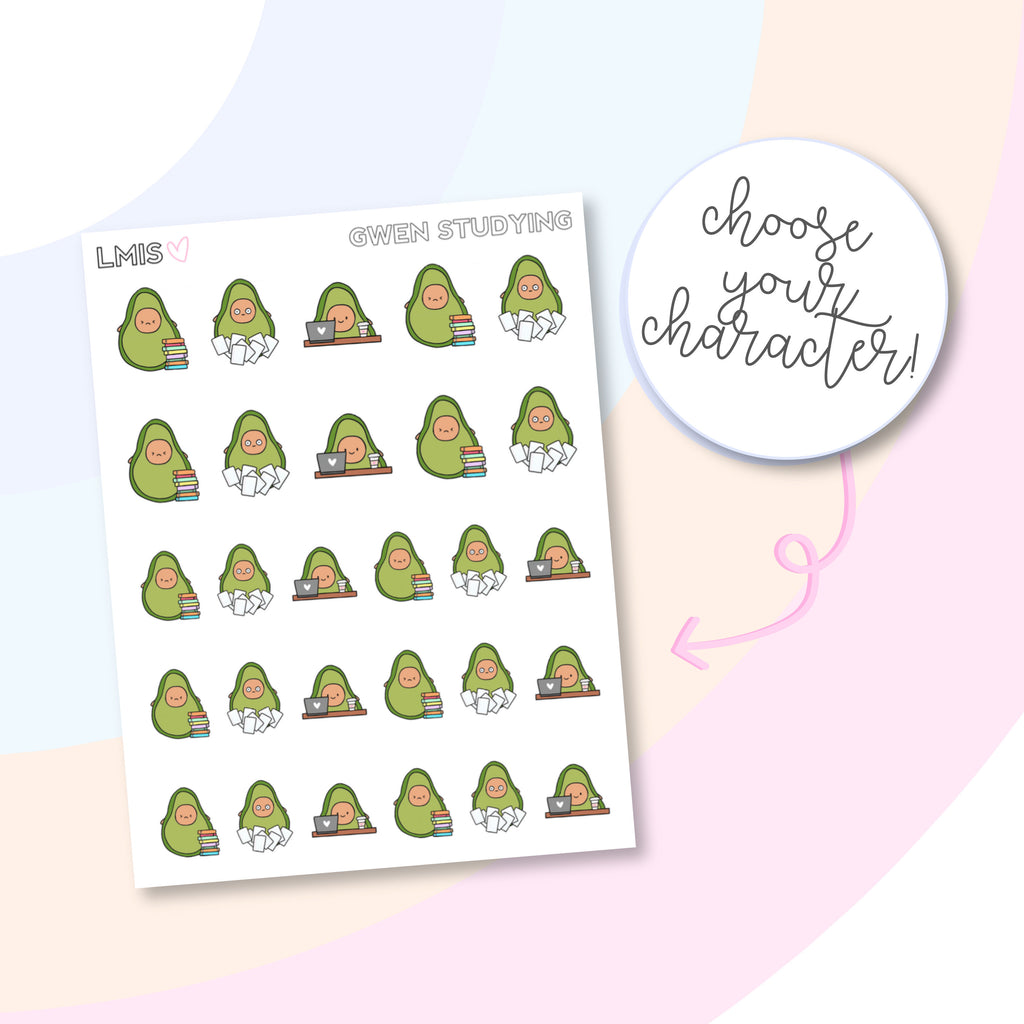 Studying AvoBabes Planner Stickers - Grab these stickers for your planner and let's get to it! - Let's Make It Sparkle