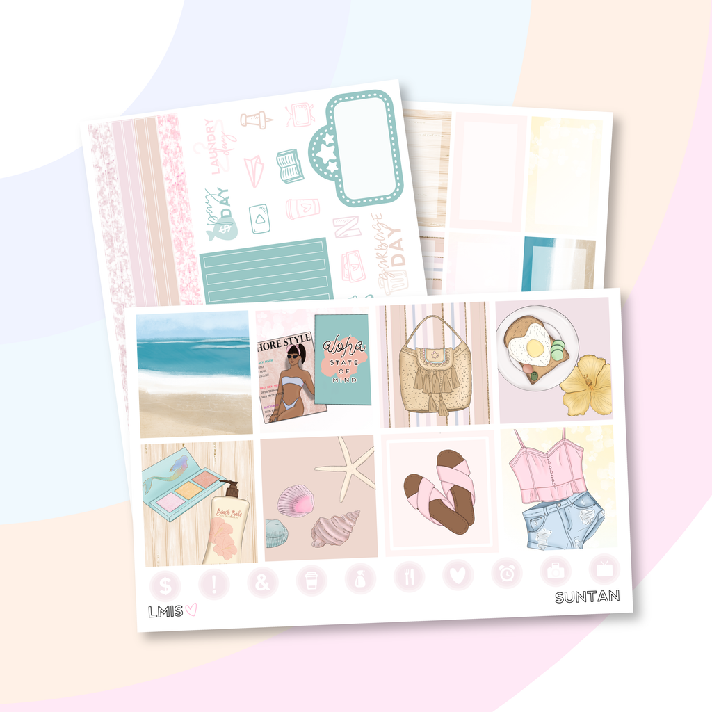 Suntan Planner Sticker Kit (Horizontal)