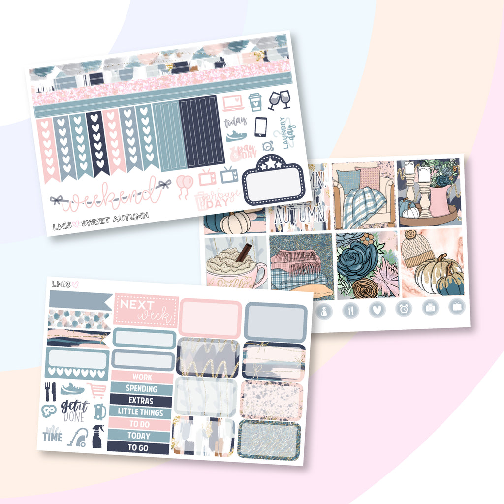 Sweet Autumn Planner Sticker Kit (Horizontal) - Grab these stickers for your planner and let's get to it! - Let's Make It Sparkle