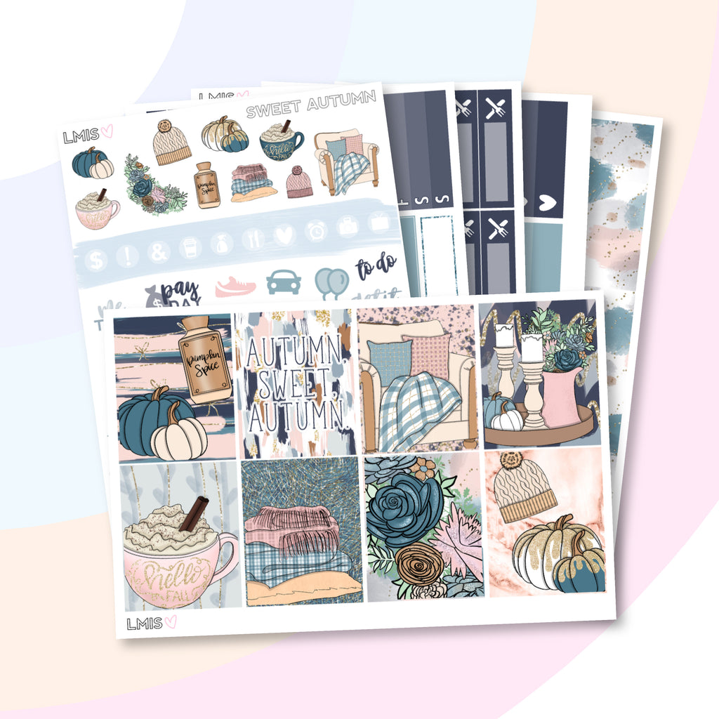 Sweet Autumn Vertical Planner Sticker Kit - Grab these stickers for your planner and let's get to it! - Let's Make It Sparkle