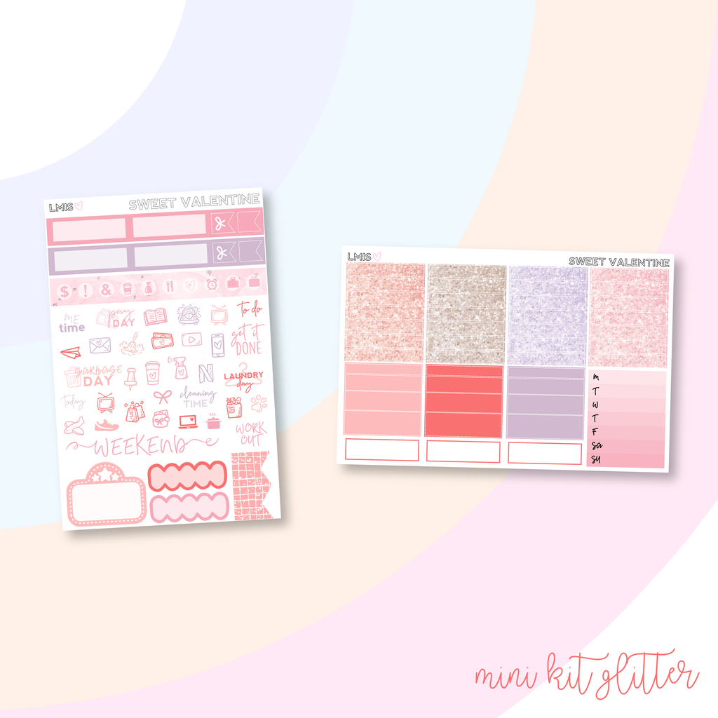 Sweet Valentine Vertical Planner Sticker Kit, Valentine's Day Sticker Kit