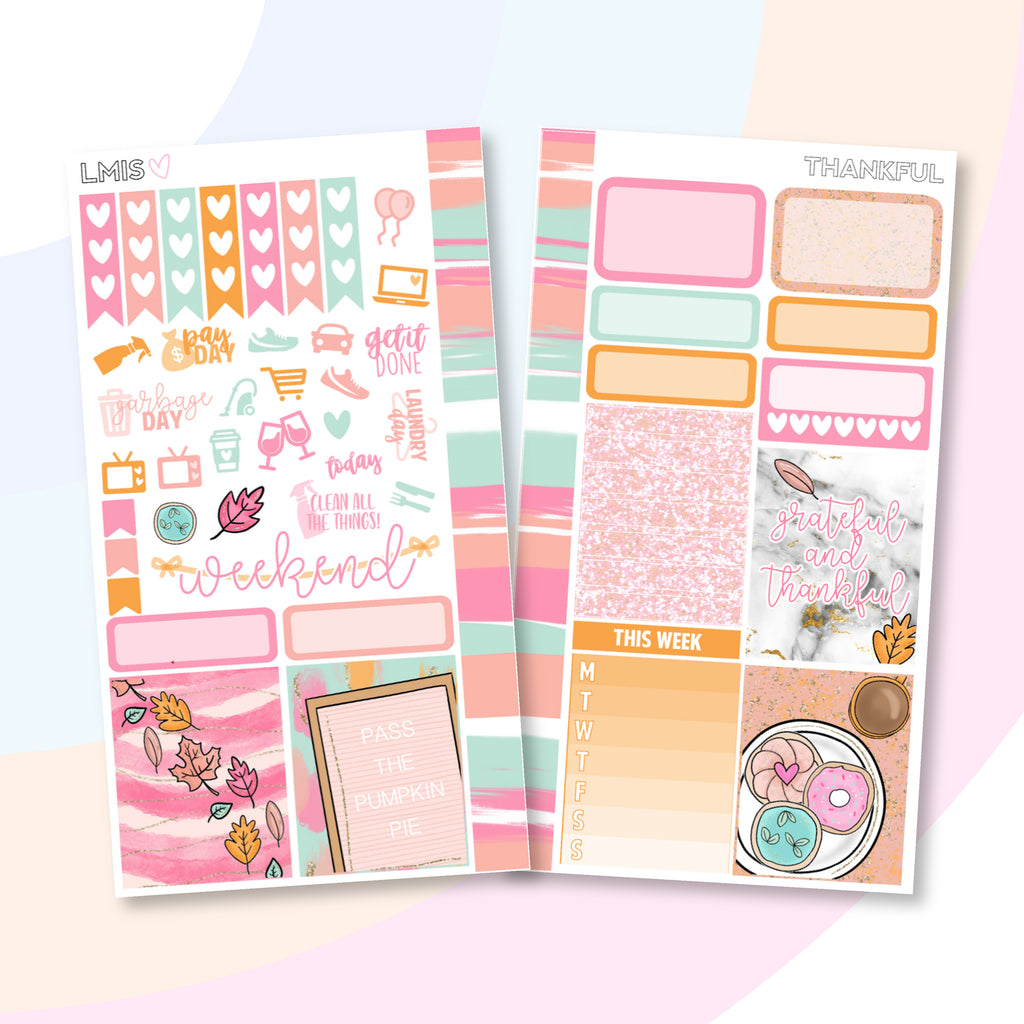 Thankful Personal Planner Sticker Kit for Traveler's Notebooks, TNs and Personal Planners - Grab these stickers for your planner and let's get to it! - Let's Make It Sparkle