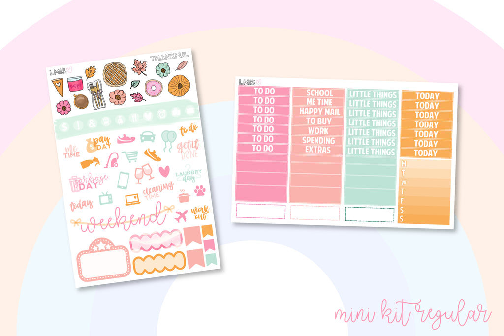 Thankful Vertical Planner Sticker Kit, Thanksgiving - Grab these stickers for your planner and let's get to it! - Let's Make It Sparkle