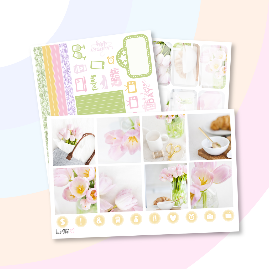 Tulips Planner Sticker Kit (Horizontal), Spring Stickers